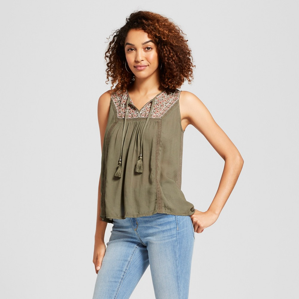 b3dd72f7399e05 Women s Embroidered Textured Tank - Knox Rose Olive M