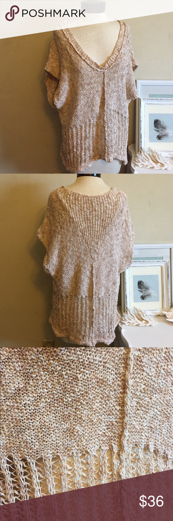FP Shaggy Sweater Sleeveless Free People sweater. Great for layering. It is labeled Small but will fit medium too as it meant to fit very loose. 95% cotton, 5% polyester. It has some minimal piling but it blends with the texture and color of the sweater. No other flaws. Free People Sweaters V-Necks