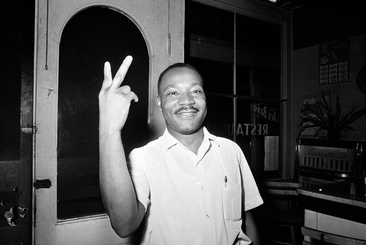 Dr. Martin Luther King, Jr., in St. Augustine, Florida, reacts after learning that the U.S. senate passed the civil rights bill on June 19, 1964.