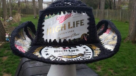 05595adae68 Crocheted beer can hat (cowboy) Fishlips the mad hatter on Facebook  Highlife!