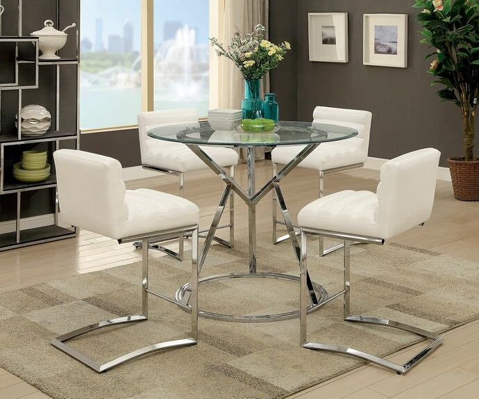 Cm3170rpt Wh 5pc 5 Pc Livada Ii Chrome Frame 45 Round Glass Top Counter Height Dining Table Set Counter Height Dining Table Set Contemporary Dining Table Dining Table