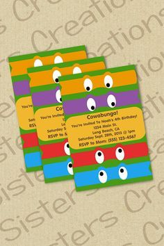 Ninja Turtle Invitation DIGITAL Deaks 6th Birthday Pinterest