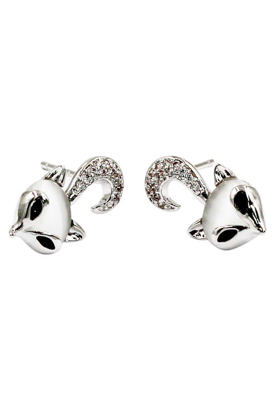mini cute little fox crystal earrings
