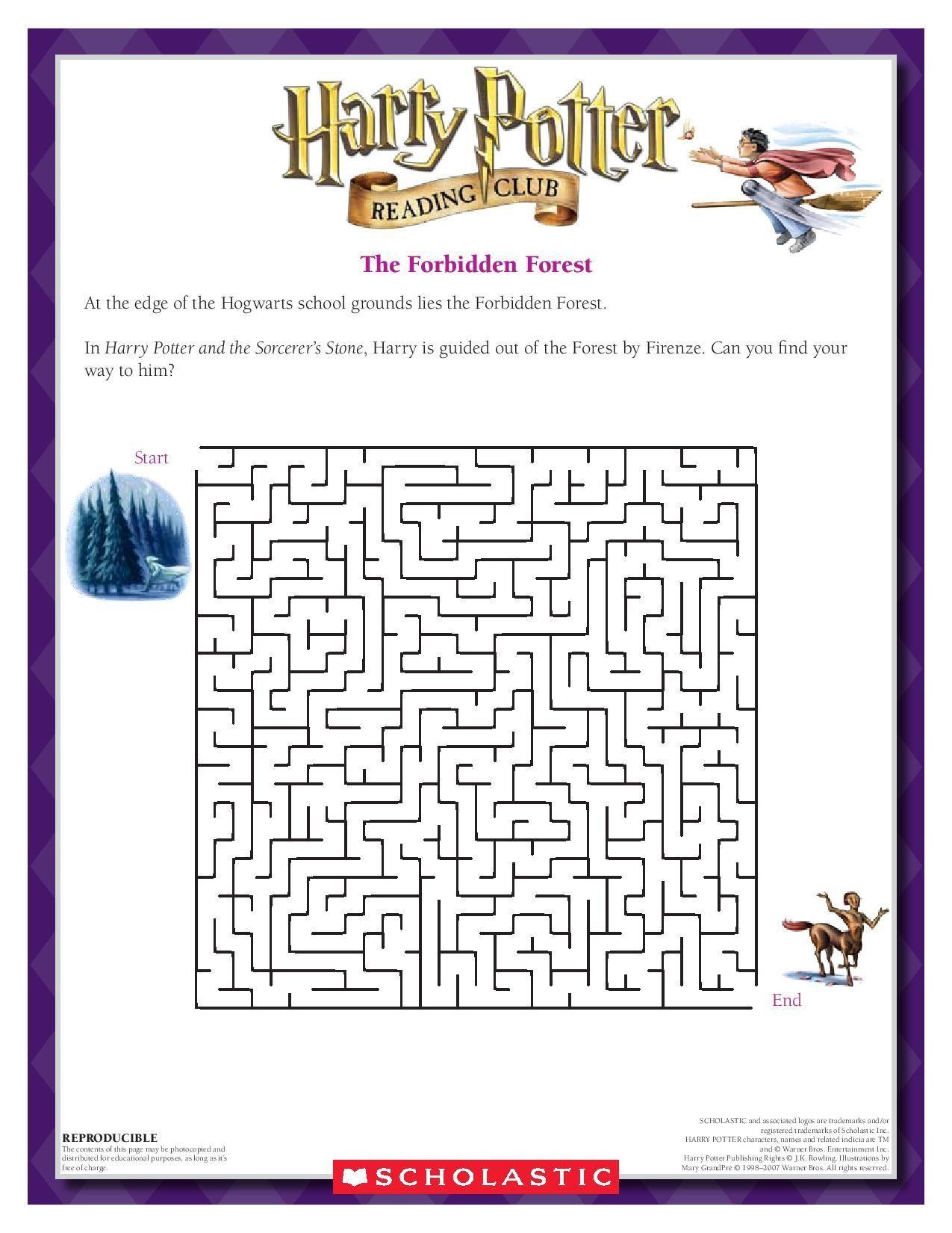 5 Worksheets Magical Maze Harry Potter Activities Harry Potter Games Harry Potter Birthday [ 1650 x 1275 Pixel ]