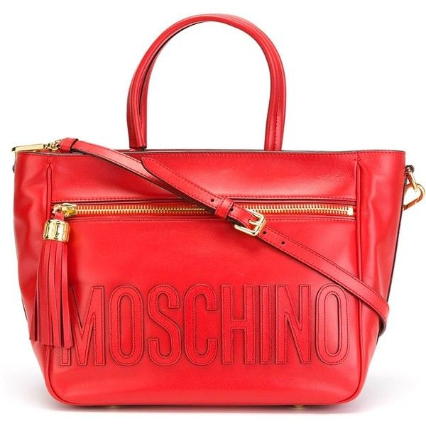 Moschino Stitched Logo Tote ($1,276) ❤ liked on Polyvore featuring bags, handbags, tote bags, red, red tote, zip top tote, moschino tote, logo tote and tassel purse