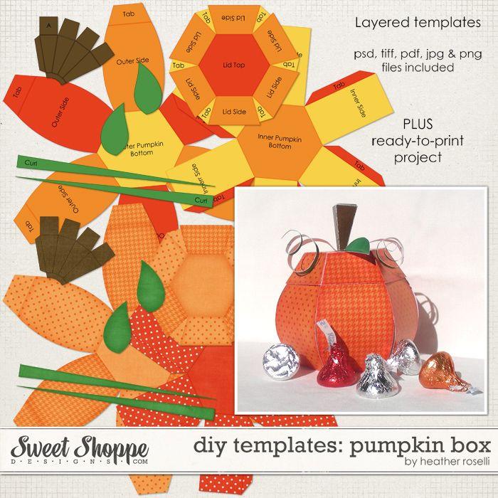 3d pumpkin template printable  DIY Printable Templates: Pumpkin Box by Heather Roselli ...