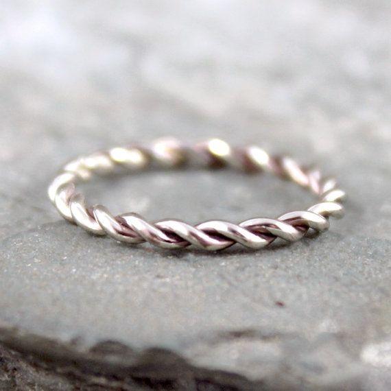White Gold Band Twist Band 14k White Gold Ring By Asecondtime 250 00 White Gold Band 14k White Gold Wedding Band White Gold Rings