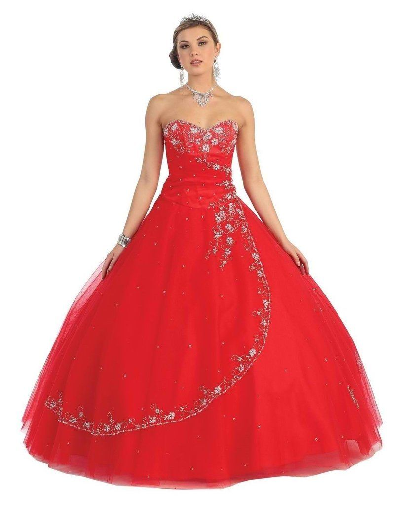 Quinceanera strapless tulle prom long ball gown dress the dress