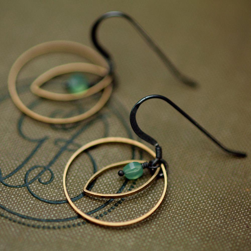 handmade brass silver earrings by Rachel Lucie