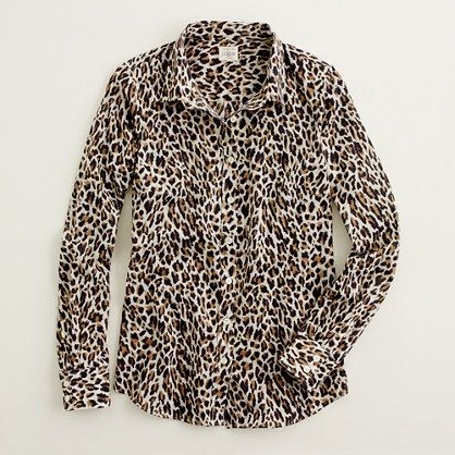 great way to wear leopard... classic top and black bottom. Factory classic button-down shirt in printed cotton/