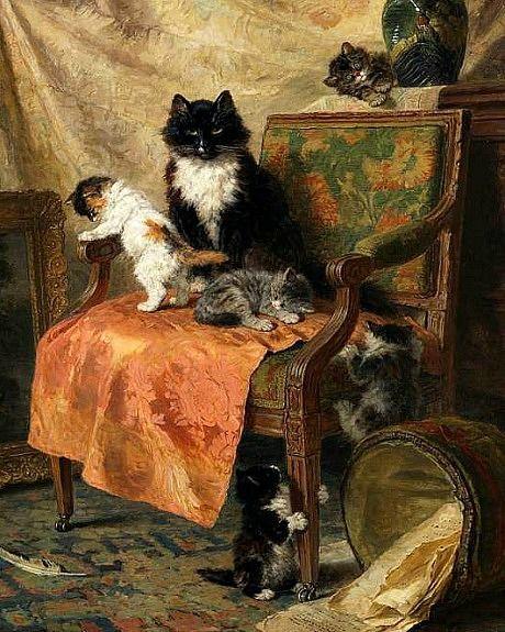 Henriëtte Ronner-Knip,   Kittens at Play   on ArtStack #henriette-ronner-knip #art