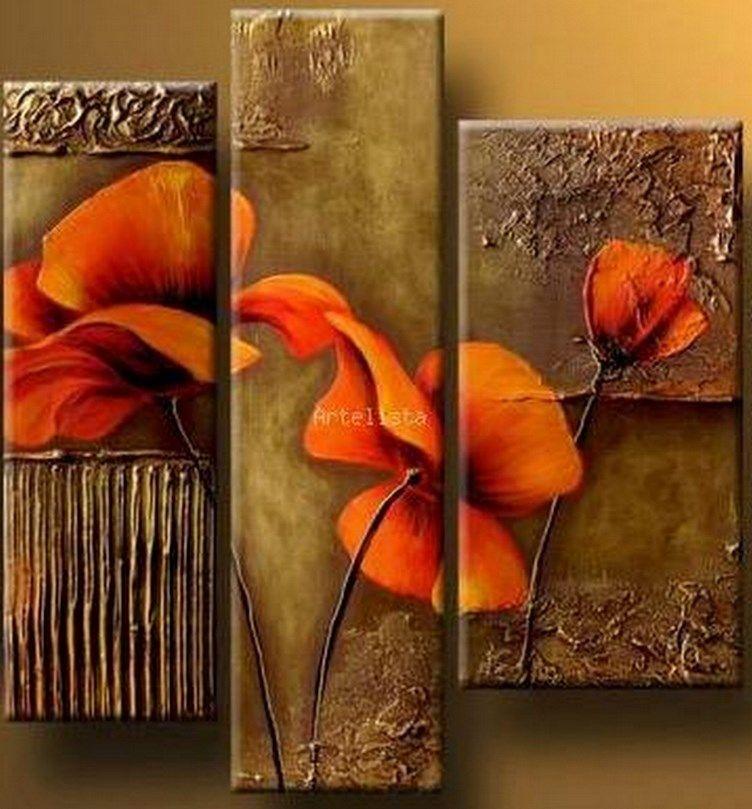cuadros modernos cuadros decorativos pintura decorativa lienzos pinturas trpticos abstractos acogedor amapolas flores