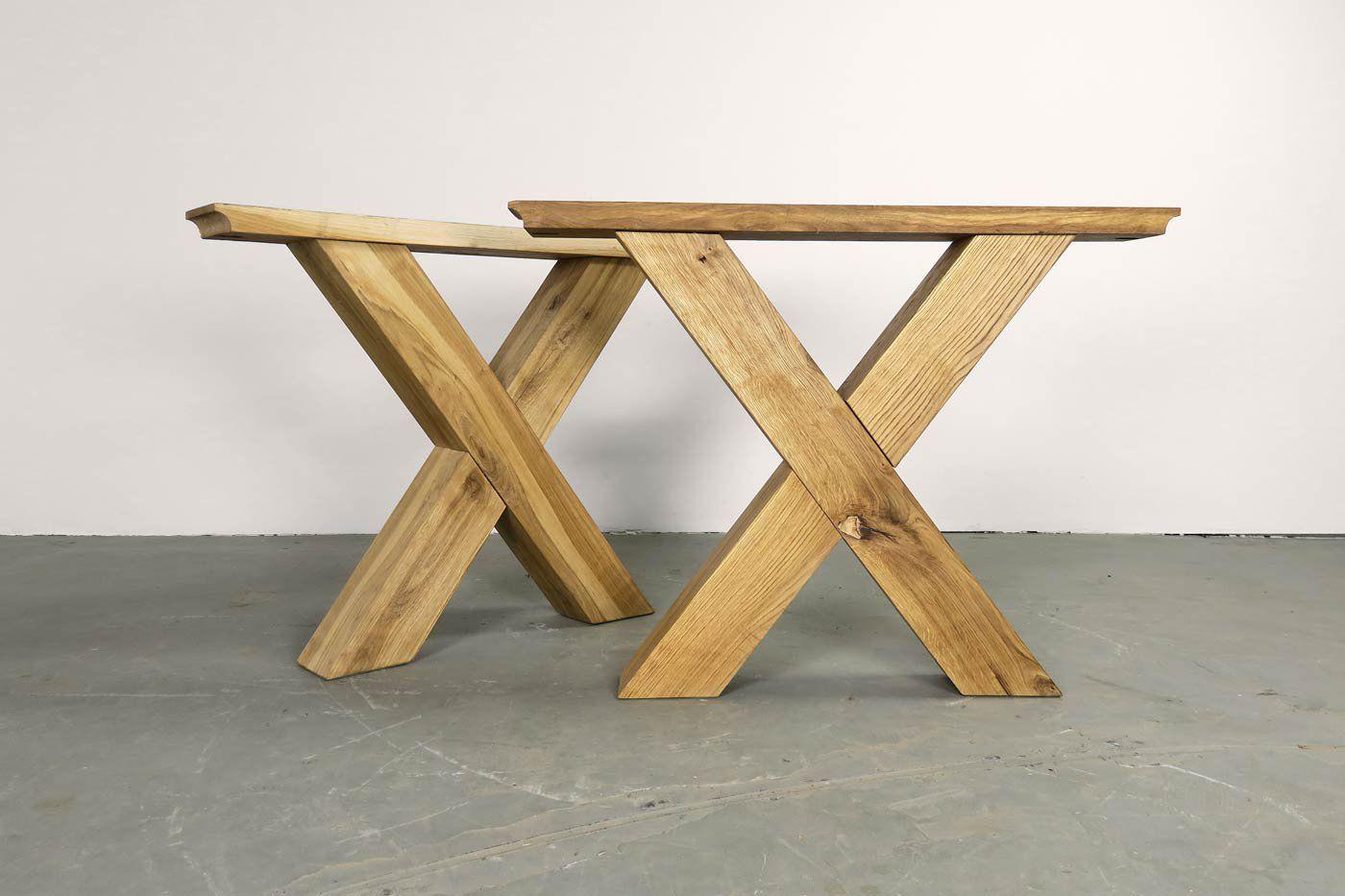 Eiche Tischgestell Massiv Norik Festgrosse 2er Set Tischgestell