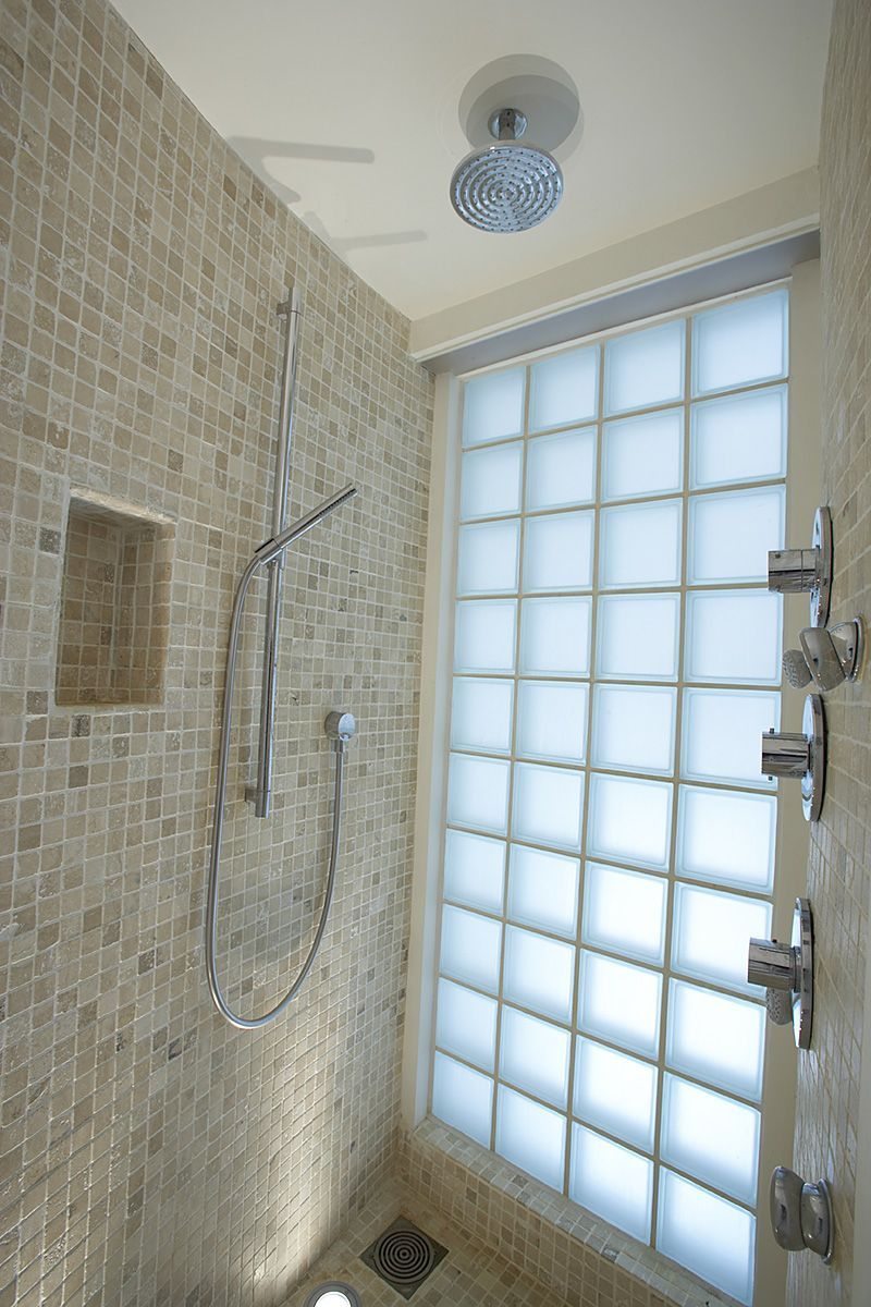 Glass Blocks Offer Naturally Lighting In The Master Shower With - Glass block showers small bathrooms for bathroom decor ideas
