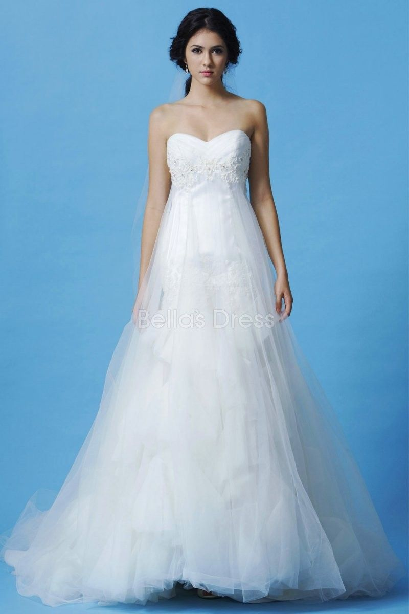 Dramatic tulle floor length a line sweetheart empire waist bridal