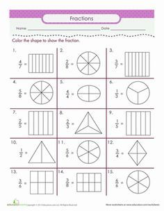 Color the Fraction school Fractions worksheets, Second