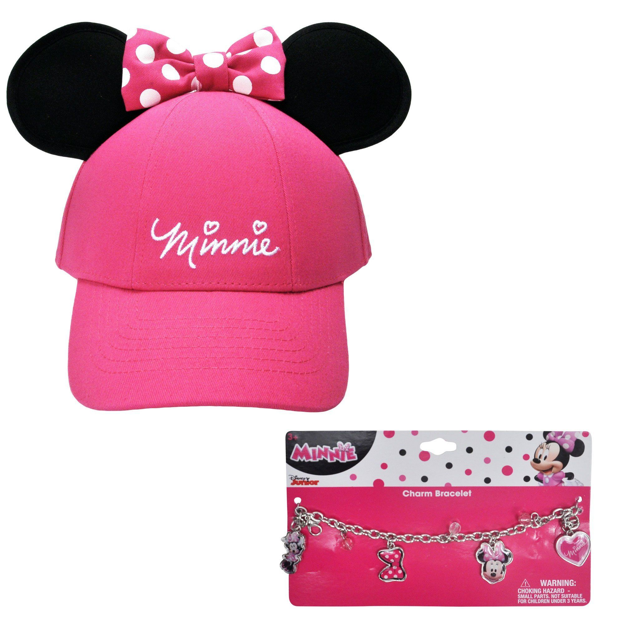 16dd92f07d68b Disney Girls Minnie Mouse Pink Hat with Ears   Charm Bracelet ...
