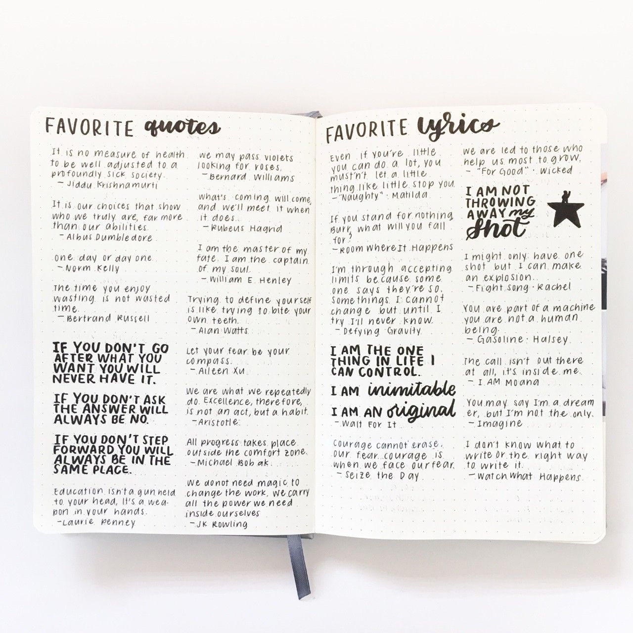 quotes/lyrics page Bullet Journal Layout, Creating A Bullet Journal, Bullet Journal  Notebook
