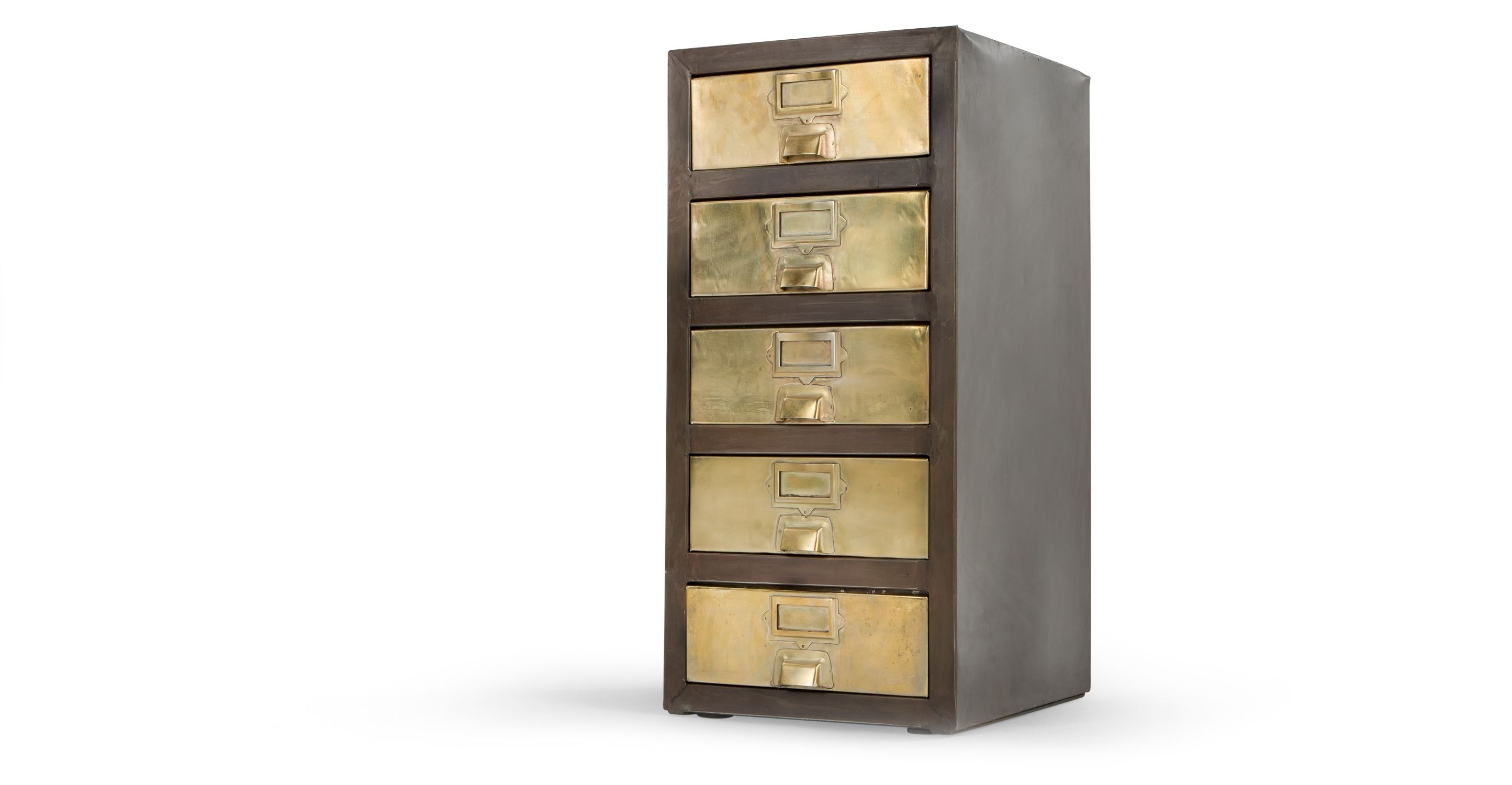 Stow Small Storage Unit, Vintage Brass