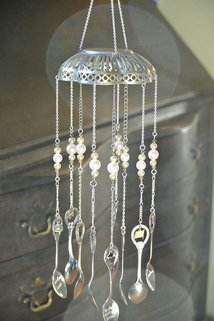 Recycled silver wind chime made with souvenir spoons:
