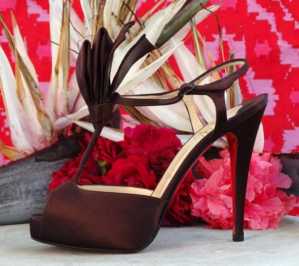 768389839e3 CHRISTIAN LOUBOUTIN Ernesta Brown Satin T-Strap Platform Heels 36.5 6~ 875  NEW!  ChristianLouboutin  Stilettos