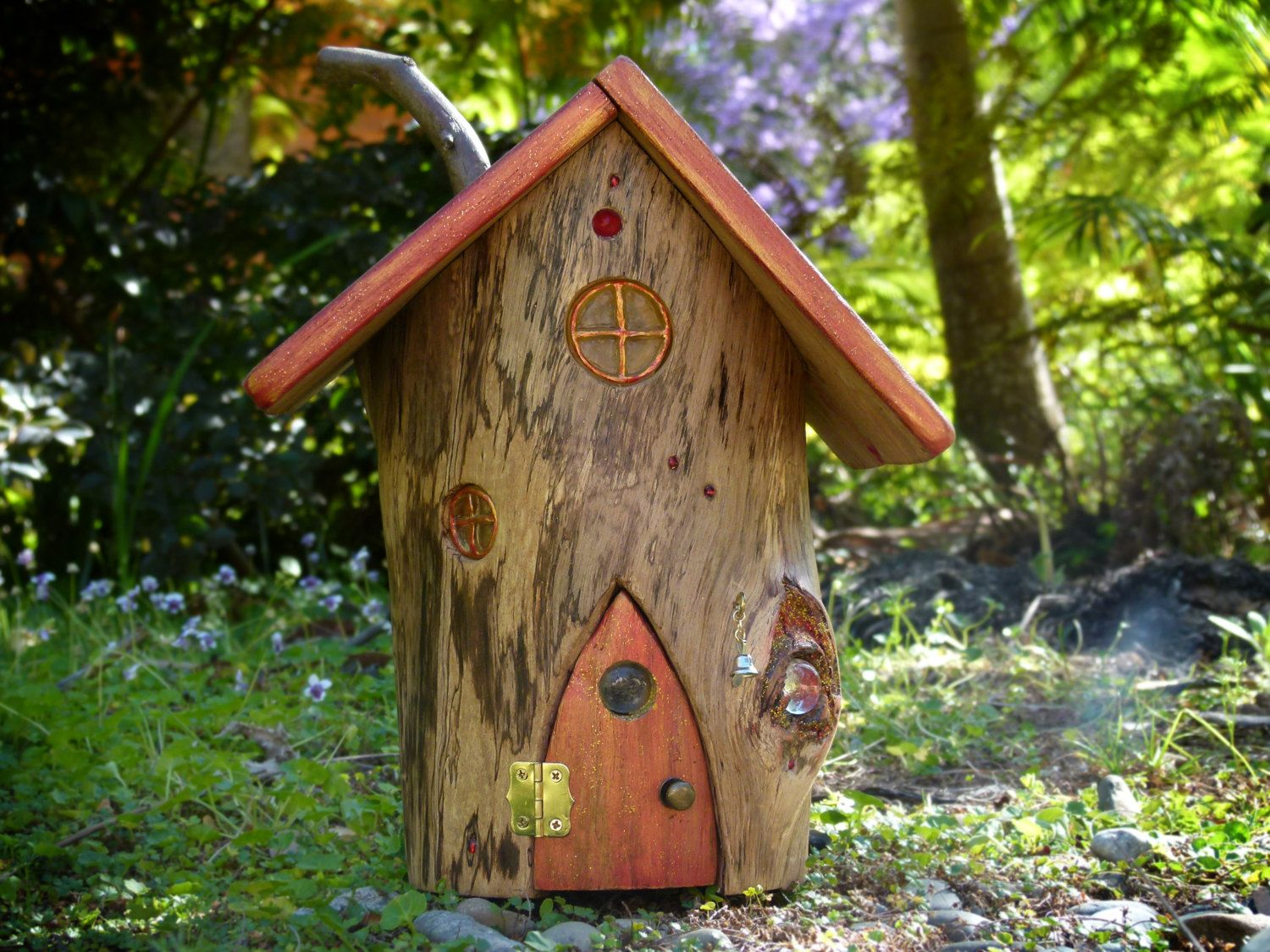Tree stump fairy house - Ooak Wooden Fairy House With Red Opening Door And Resin Windows Tree Stump Fairy House Large Fairy House