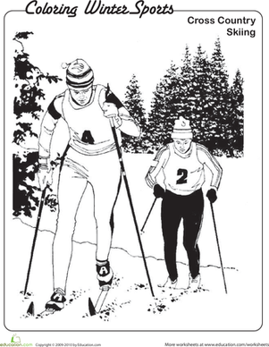 CrossCountry Skiing Coloring Page