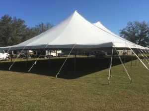 A fully staked pole tent, rented in Sarasota