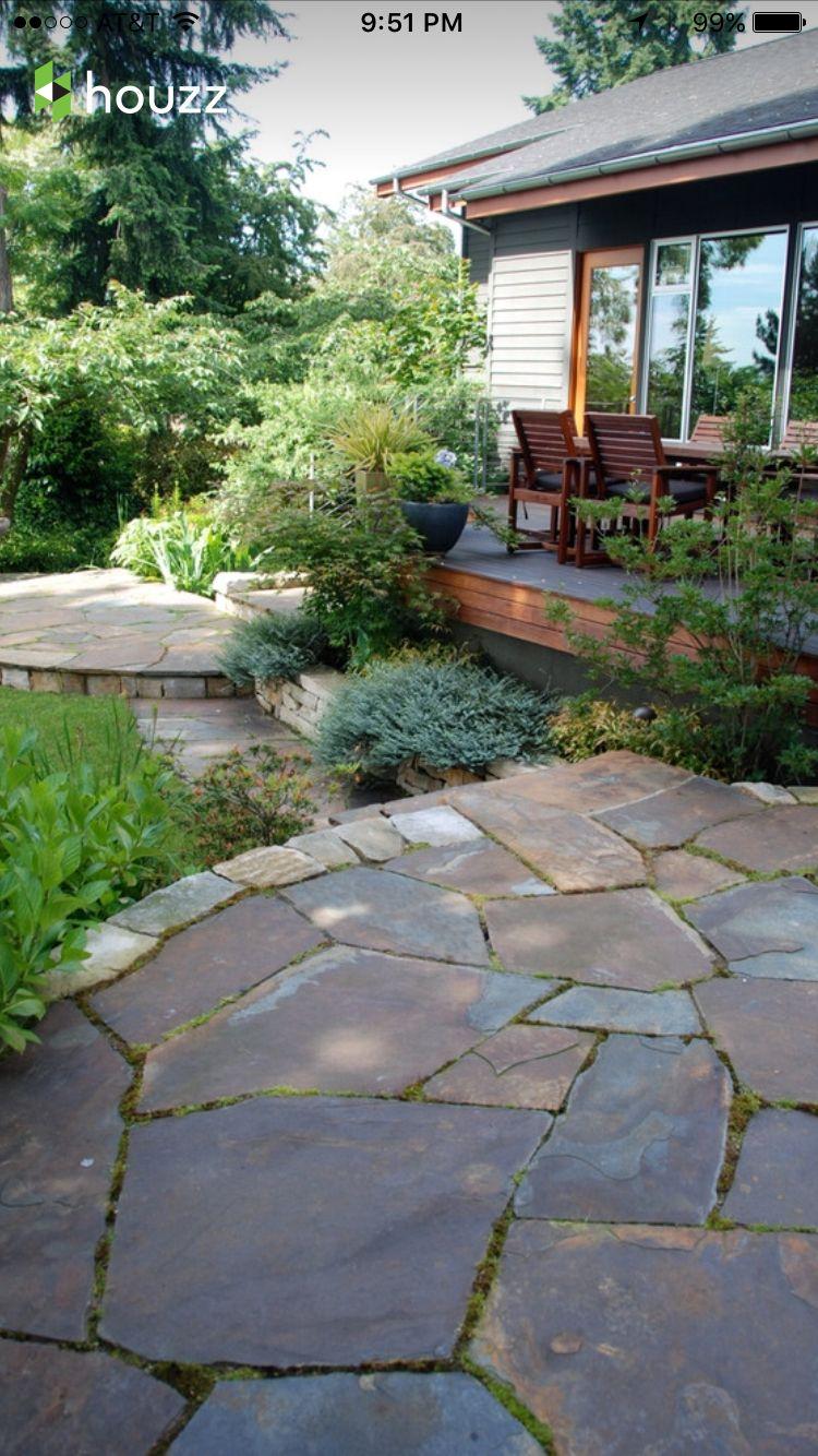 irregular flagstone patio landscape