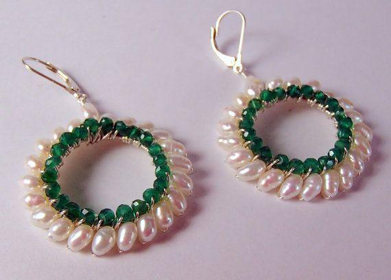 perle d'acqua dolce e onice verde