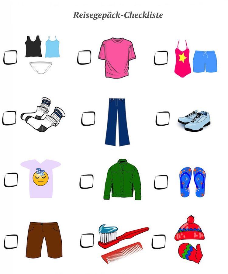 Koffer Packen - Reisegepäck-Checkliste Vorlage   ju d,\'-   Pinterest ...