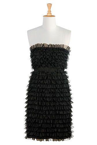 I <3 this Ruffled tulle strapless dress from eShakti