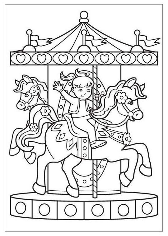Happy Kid Riding Carousel Coloring Page Coloring Pages Coloring Pages For Boys Horse Coloring Pages