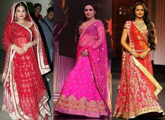 Shopping+Guide+for+Plus+Size+Indian+Wedding+Dress It is important to take a note of the shape of the body. Try to find out heavier part, if its midriff heavy, bottom heavy, top heavy or overall round shaped body. For the midriff heavy, a designer #plus size #lehenga in the flared style with a #designer #choli excelling the bust line is perfect  #lehenga #saree #anarkali