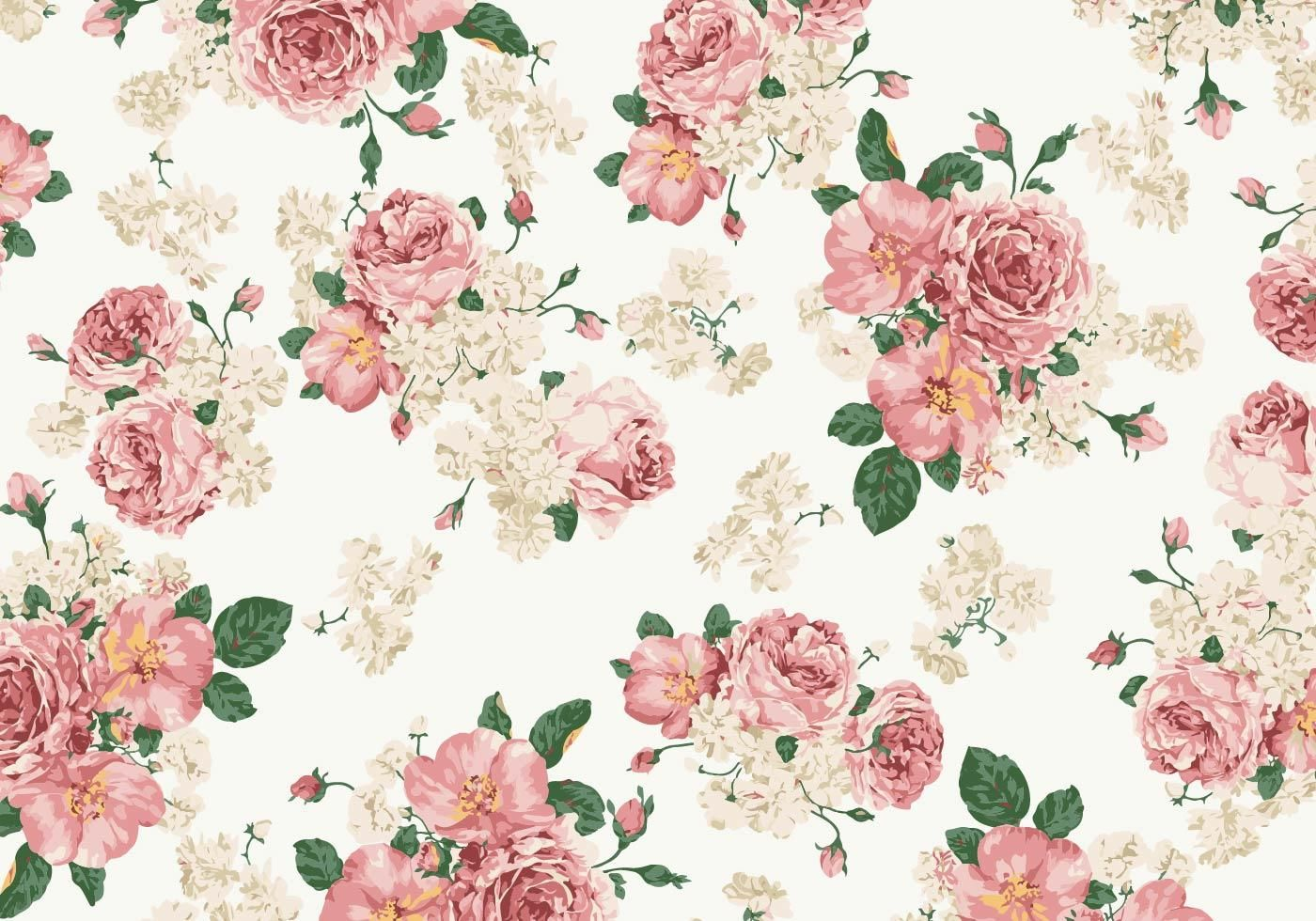 Vintage Pink And White Roses Vector Background Vintage Flowers Wallpaper Vintage Floral Backgrounds Floral Pattern Wallpaper