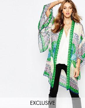 Anna Sui Exclusive Maxi Silk Kimono In Peacock Print