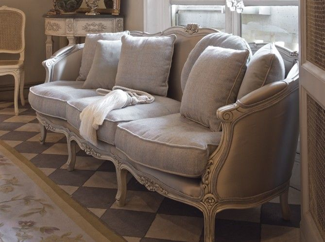 French Style Sofa In Linen Fabric Decorating Ideas Gray Decor