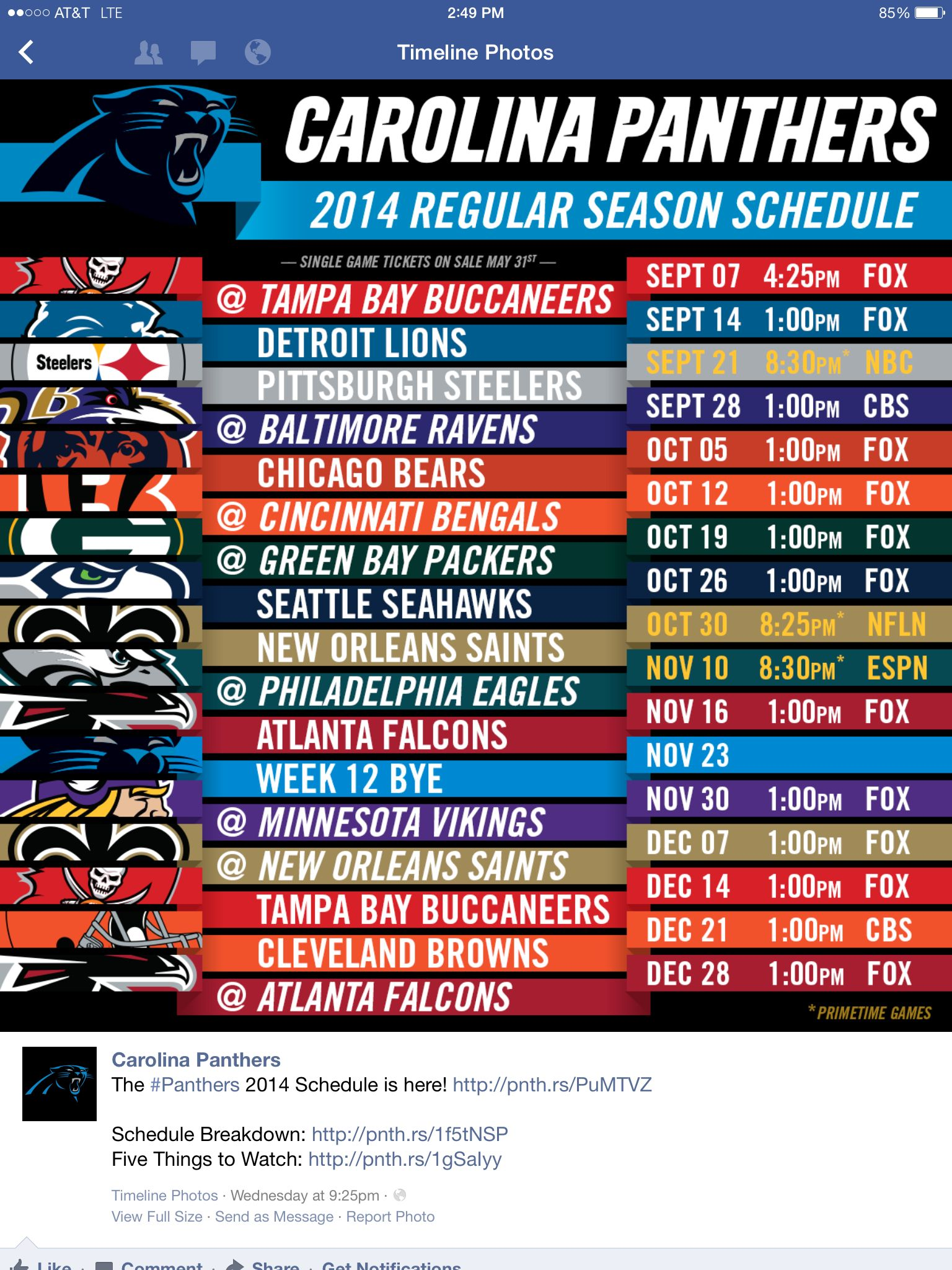 panthers 2014-2015 schedule | carolina panthers | pinterest
