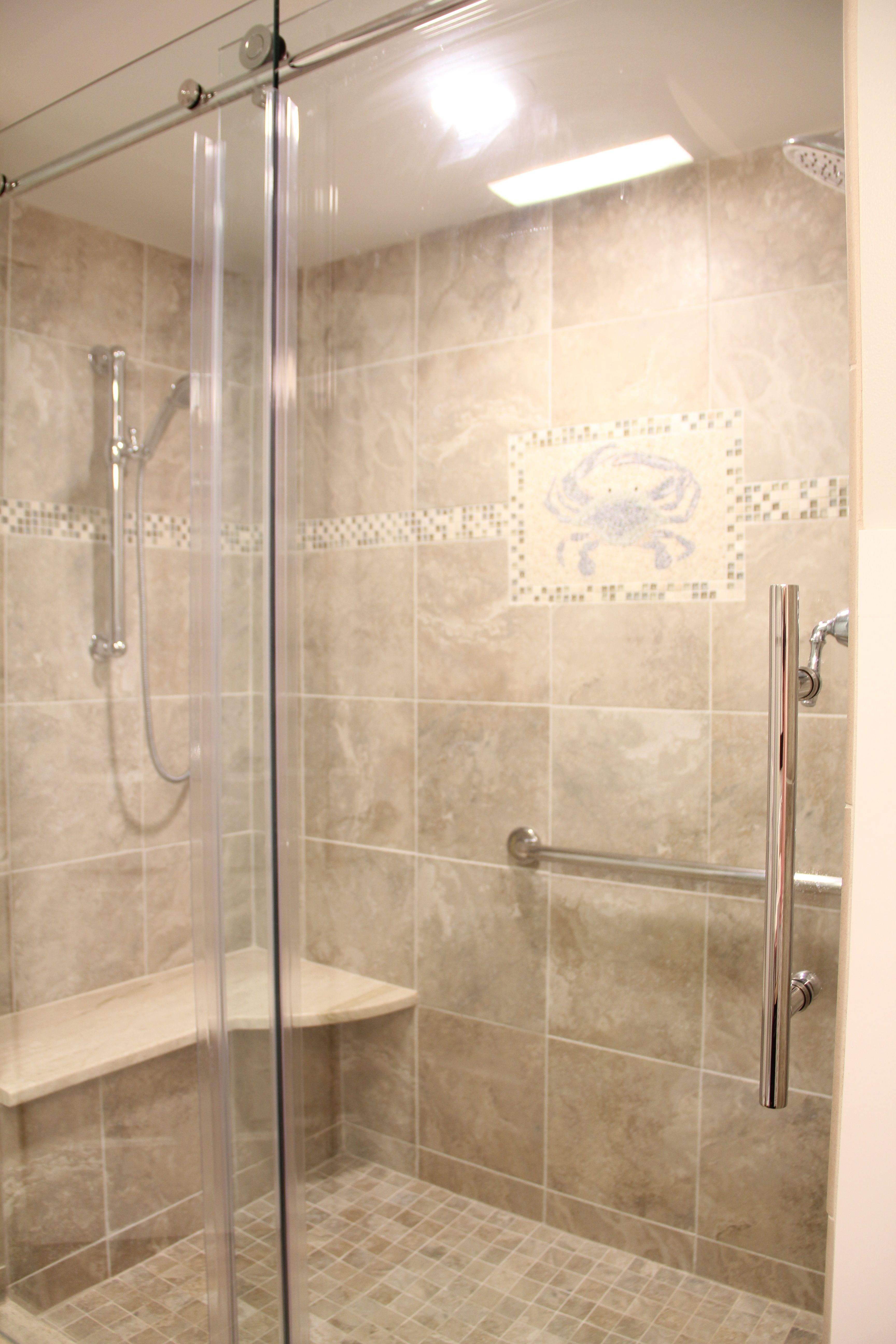 Shower With Crab Tile Accent We Live In Maryland Home Of The Blue