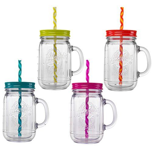 Classic Plastic 4 Pack Mason Jar Mugs W Handle Lids Reusable Smoothie Size Striped Stay Put Straw Sweat P Plastic Mason Jars Mason Jar Mugs Mason Jar Cups