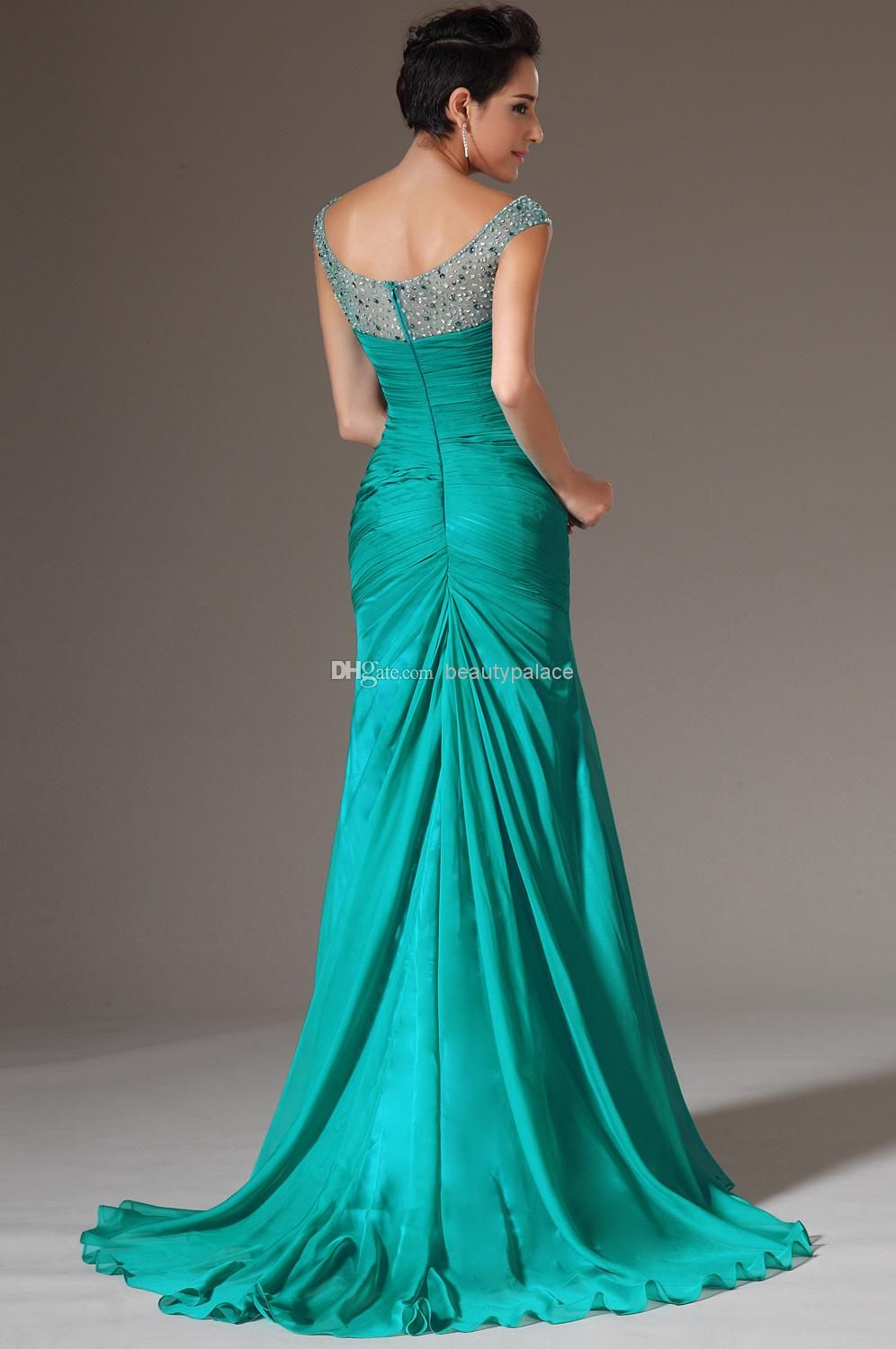 Cheap Best Selling Mermaid V Neck Floor Length Turquoise Chiffon Cap ...