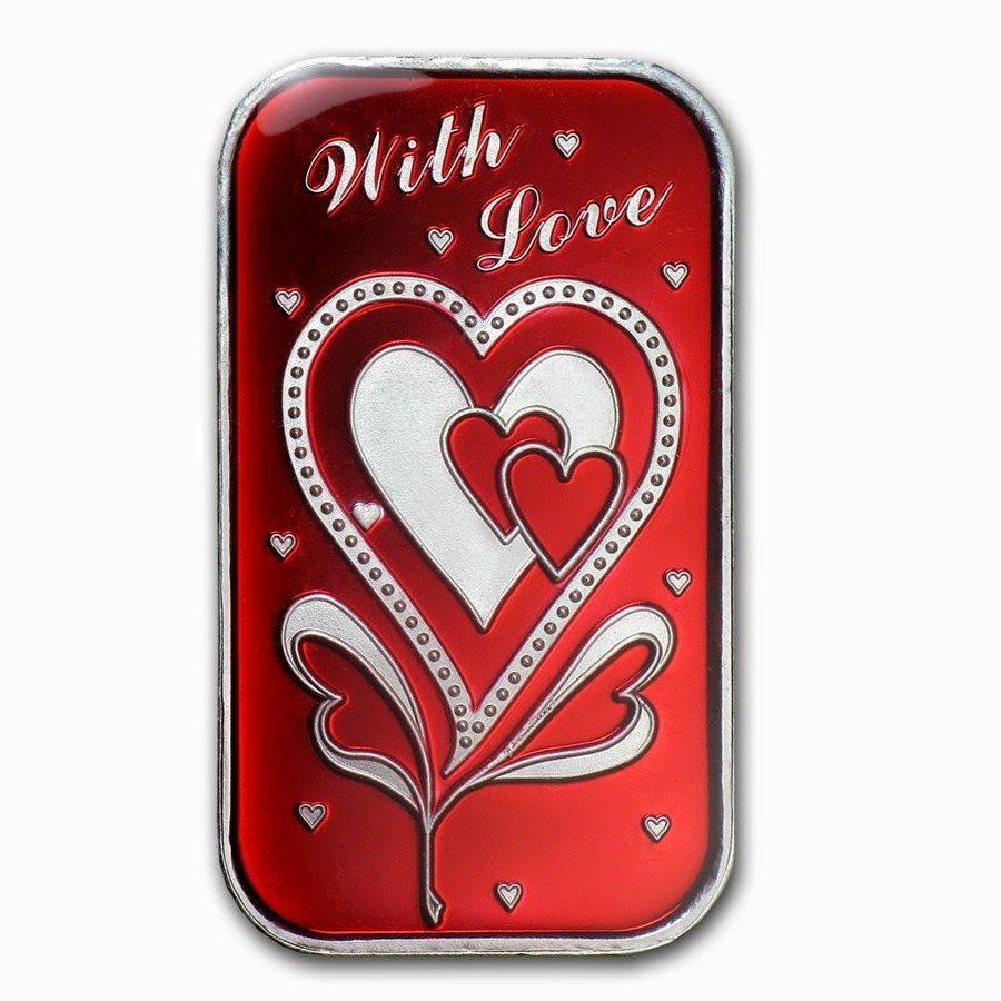 Pgs Coins Treasures Curated By Suzi Q S Treasures Valentine S Day Gift 1 Oz Silver Bar With Love Valentine Day Gifts Silver Bars Gifts