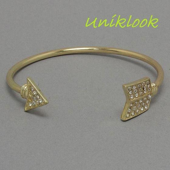 Wrap-Around GOLD Arrow Open Cuff Bracelet Crystal Fashion Bijoux Jewel Uniklook $18.99