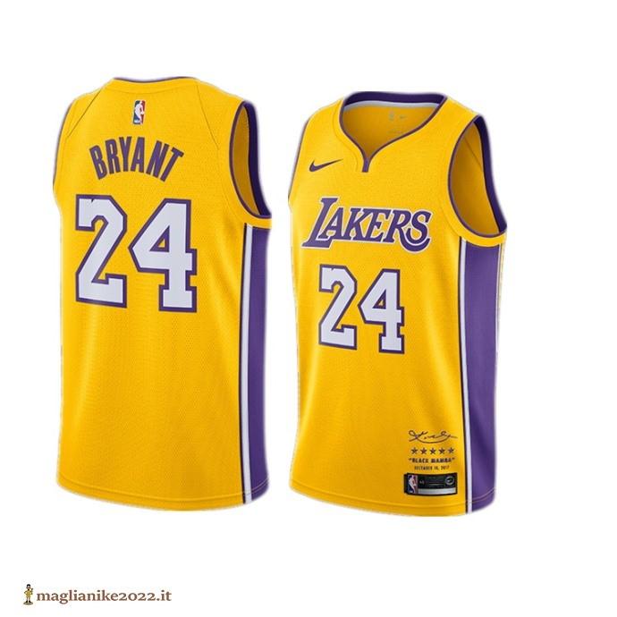 Maglia NBA #24 Kobe Bryant Giallo 2017-18 - Los Angeles Lakers in ...