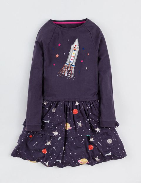ab4c47b6c Twirly Jersey Dress. Rocket and space. Confused why rocket needs to be  sequins but the design is pretty cool. Boden Girls