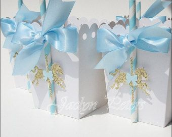 Birthdays Christenings Baptisms Set of 12 Carousel Horse Theme Favor Bags Pink and Gold with Satin Bow for Baby Showers