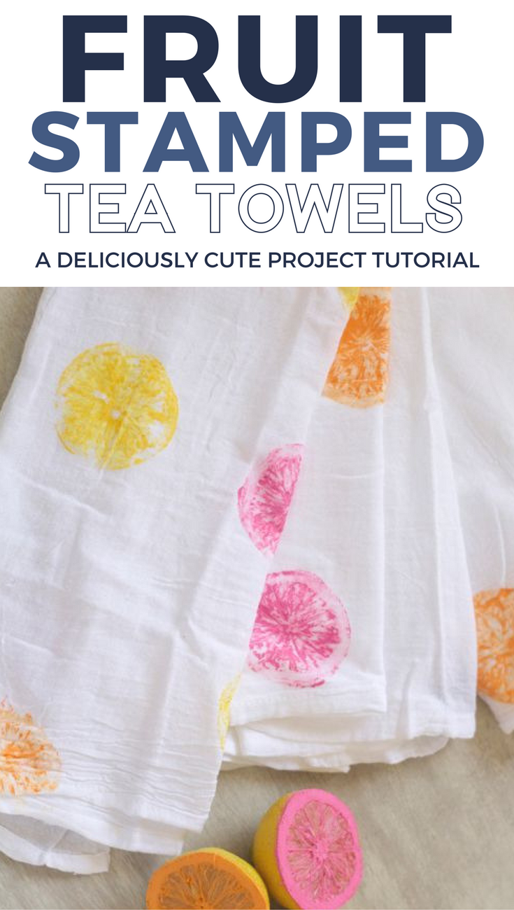 DIY Colorful Citrus Painted Tea Towels | Towels, Teas and Stamps