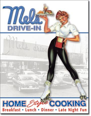 "(Mel's Girl) Roller Skating Car Hop >> find a vintage pair of skates, capris / skirt/ pants, and bowling shirt for a uniform look. Make yourself a name tag with a cute 50's pet name like ""Bunny"" and carry a serving tray as your prop."