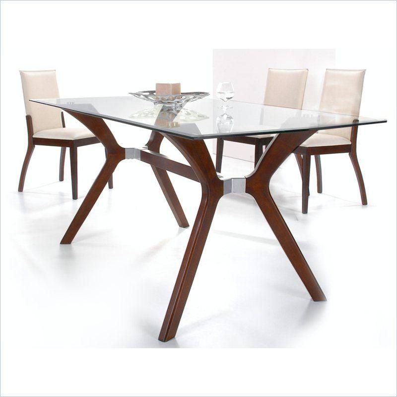 Chintaly Luisa Rectangular Gl Top Dining Table In Dark Walnut