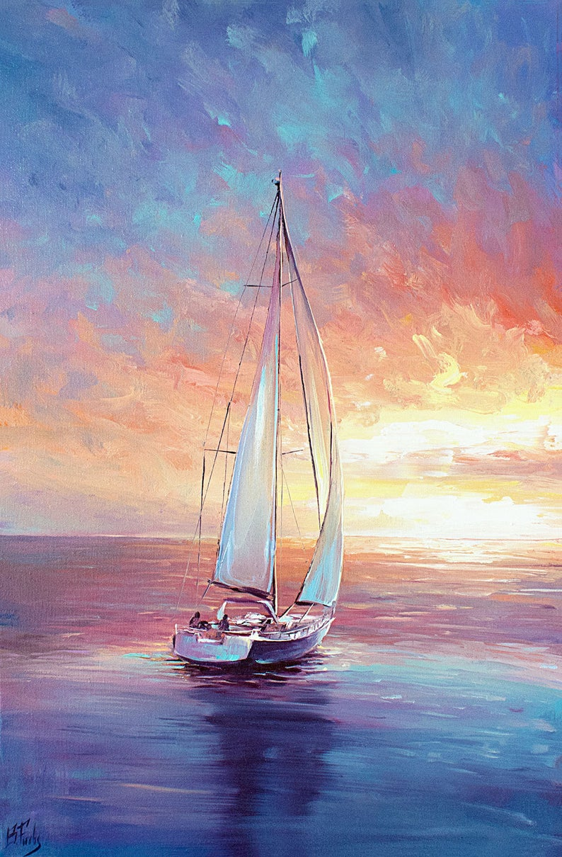 SEA  AND SAIL SUNSET OIL PAINT REPRINT  ON WOOD  FRAMED CANVAS WALL ART